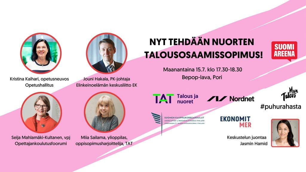 Nyt tehdään nuorten talousosaamissopimus, Suomi Areena tilaisuuden esite